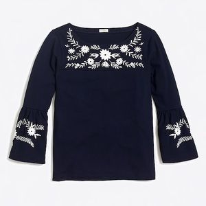 Jcrew navy embroidered bell sleeve top